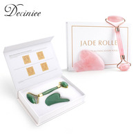 Rose Quartz Jade Roller Gua Sha Face Roller Facial Beauty Roller Skin Care Tools Mute Roller Massager for Eyes Neck Body Muscle 1
