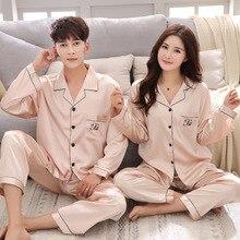 Lisacmvpnel Ice Silk Couple Pajama Set Long-sleeved Men's An