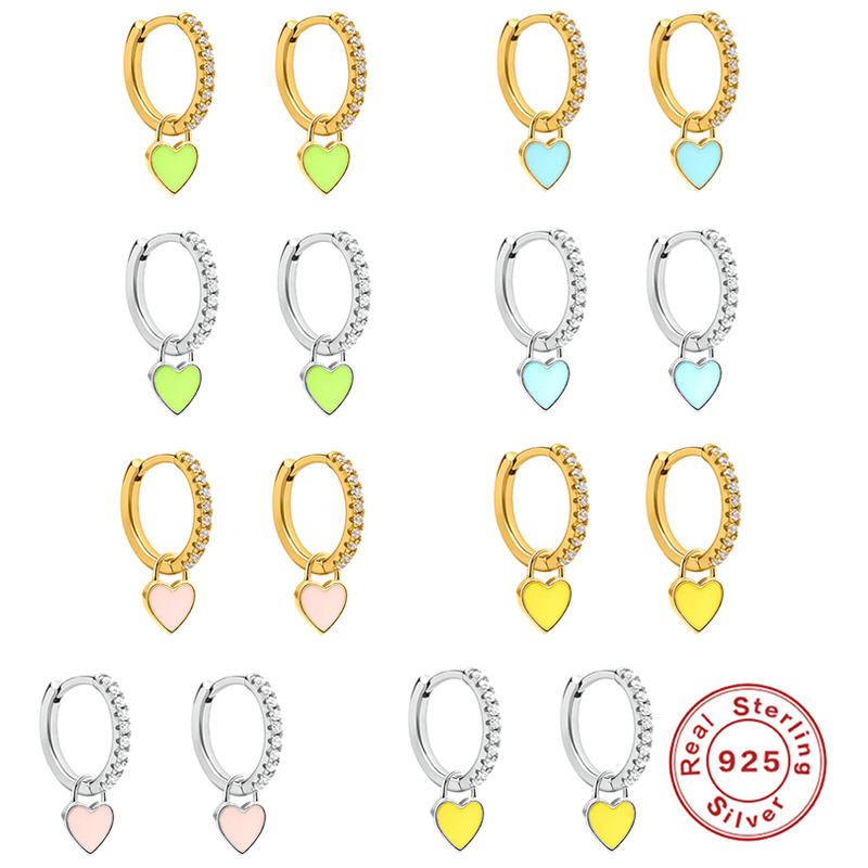 Aide 925 Sterling Silver Hoop Earrings With Cute Candy Neon Color Enamel Heart Charm Drop Earring Gold Silver Color For Girls