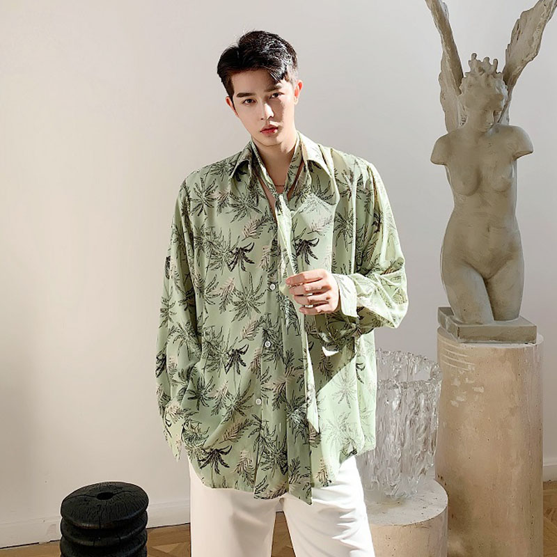 Men Tie Long Sleeve Vintage Casual Loose Shirts Japan Korea Style Male Print Dress Shirts Stage Clothing
