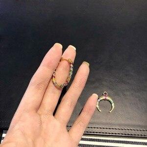 Image 4 - SLJELY 1pc 925 srebro żółty złoty kolor pojedyncze wielokolorowe paski Tribal Crescent Moon spadek kolczyk kobiety Mana biżuteria