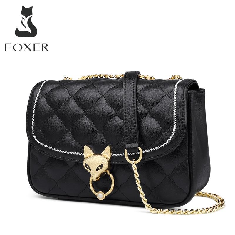 FOXER Diamond Lattice Design Lady Stylish Crossbody Bag Elegant Female Small Flap Bag Fashion Simple Style Women Shoulder Bags