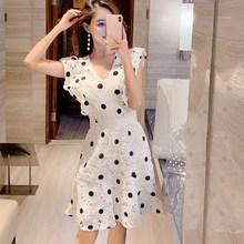 2019 New V-neck Lace Hollow Out A-line Dress Women Sleeveless Ruffles Polka Dot Party Dress Vintage Solid Mini Dress new arrival summer casual sleeveless solid women a line dress elegant simple o neck ruffles striped mini dress party dress 9166