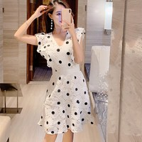2019 New V neck Lace Hollow Out A line Dress Women Sleeveless Ruffles Polka Dot Party Dress Vintage Solid Mini Dress