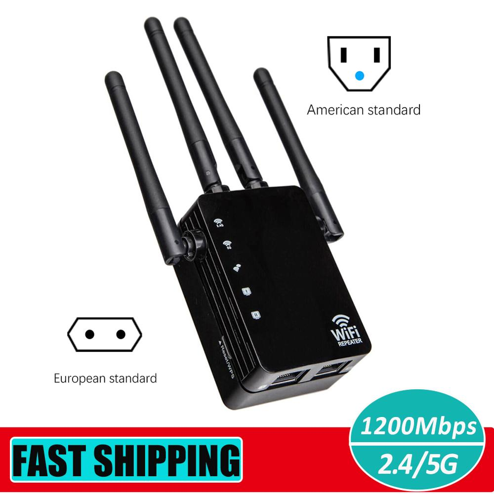 2.4G/5G Wireless WiFi Repeater Router Dual Band 1200Mbps Signal Amplifier Booster 4 Antennas WiFi Range Extender Access Point