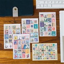 80 piezas (4 hojas) DIY Vintage Retro planificador de sellos pegatinas Londres París Príncipe Alice álbum de recortes adhesivo papel papelería Set