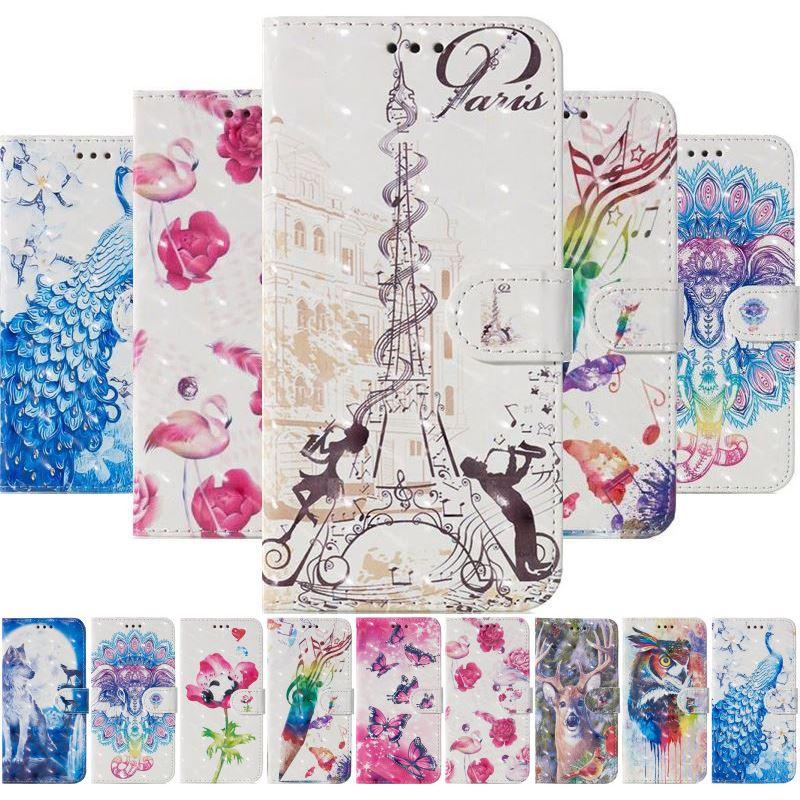Wallet Card Slot Phone Case For LG G6 G7 G8 Thinq K10 2018 K40 K50 Q60 V30 V40 Stylo 4 5 Magnet Lanyard Cute Wolf Elk Cover E27G
