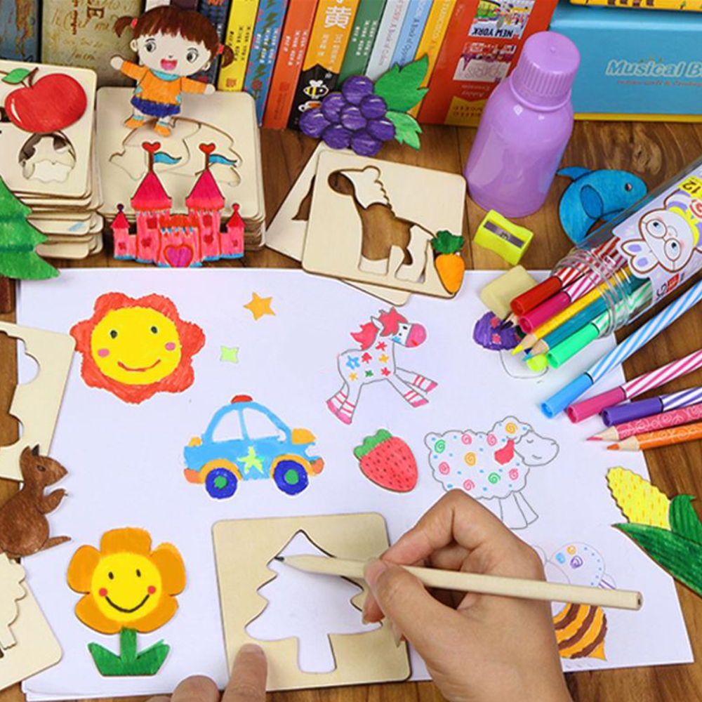 100Pcs Baby Wooden Drawing Toys Painting Stencil Templates Coloring Board Children Creative Doodles Early Learning Education Toy