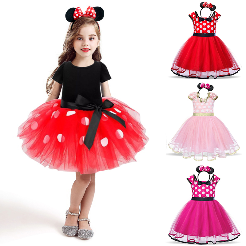 Платье для маленьких девочек с мини-мышкой, карнавальный костюм принцессы для девочек 2-6 лет, детские платья в горошек на день рождения, Рожд...