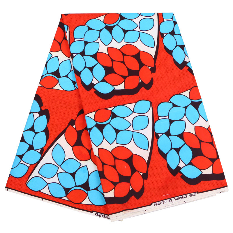 Red/blue Printed African Ankara Wax Fabric Wholesale 6 Yards 100% Polyester African Wax Prints Fabric For DIY Sewing Patchwork