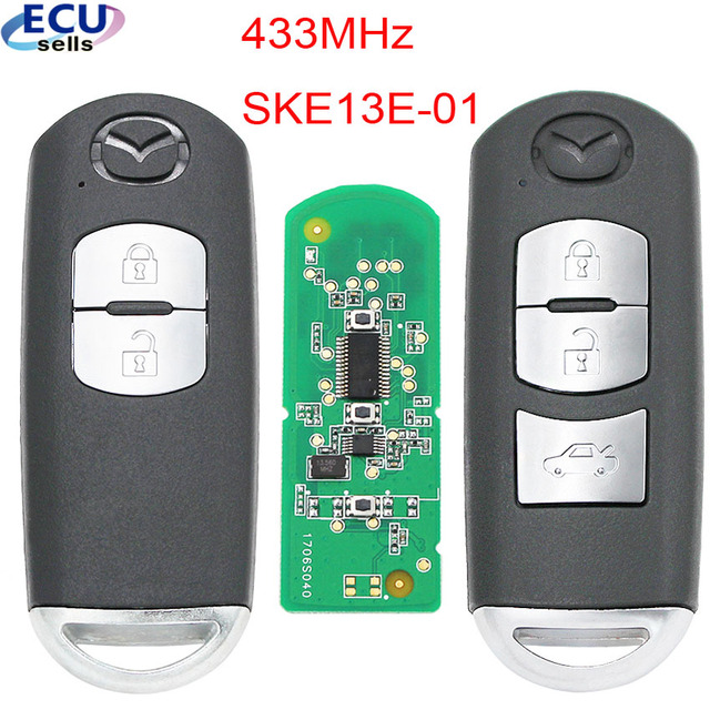 New Replacement Remote Key Fob 433Mhz 49 Chip For Mazda 3 6 CX 4 CX 5 MX 5 SKE13E 01 With small Key with Logo