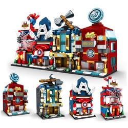 Superhero Cartoon Creative Street View Series Building Block Captain Steel Child Assembled Children Toy Gifts for Kids