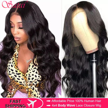 Satai 4x4 Body Wave Lace Closure Wig Peruvian Closure Wig Human Hair Wigs For Women 150 Density Lace Front Wigs