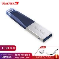 Sandisk USB iXPAND 3,0 OTG Flash Drive 32GB 64GB Lightning Metal Pen Drive 128GB disco de U para iPhone iPad iPod de memoria