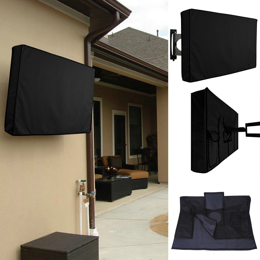 <font><b>Outdoor</b></font> <font><b>TV</b></font> <font><b>cover</b></font> dustproof and waterproof Screen <font><b>Cover</b></font> 22'' To 65'' Inch Oxford Black Television Case image