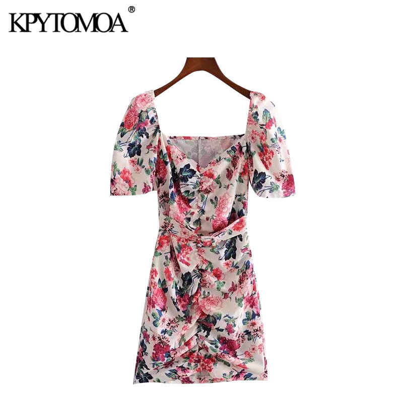 KPYTOMOA Women 2020 Chic Fashion Floral Print With Belt Mini Dress Vintage V Neck Short Sleeve Female Dresses Vestidos Mujer