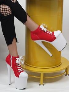 Jialuowei Shoes Platform Sneaker Stripper Canvas Exotic High-Heel 20cm Blacklight Red