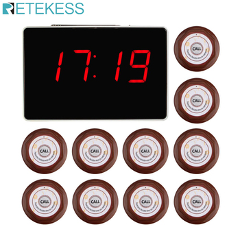 Retekess Call Customer Service Wireless Calling System Voice Report Receiver Host+10pcs Call Button Restaurant Pager F3360 customer service paging call calling system for pub bars 1pc numeric monitor and 5 call bells