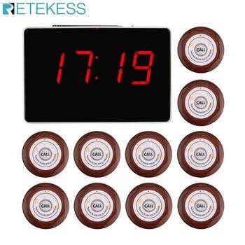 Système d'appel sans fil 433.92MHz 1 pièces récepteur de rapport vocal hôte  10 pièces bouton d'appel Restaurant téléavertisseur équipements de restauration F3360