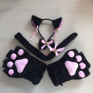 Anime cosplay Kitten Cat Maid Cosplay Hairbands Cat Ears Fantasy Maid Lolita Plush Glove Tail Paw Ear sets Sexy Bunny Costume