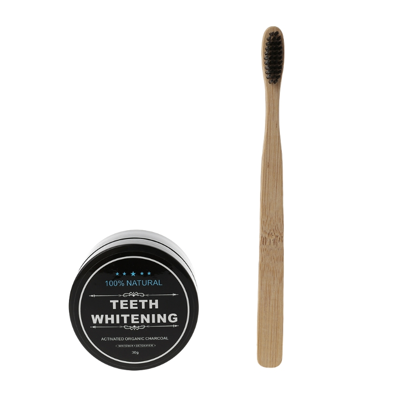 Bamboo Whitening Tooth Powder Organic Activate Charcoal Toothpaste & Toothbrush T4MB image