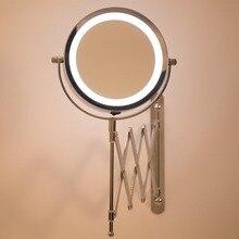 Зеркало для ванной со светодиодной подсветкой зеркала 1X/3X увеличение регулируемый настенный макияж зеркало двойной удлиняющий кронштейн 2-лицевая сторона Ванная комната зеркала
