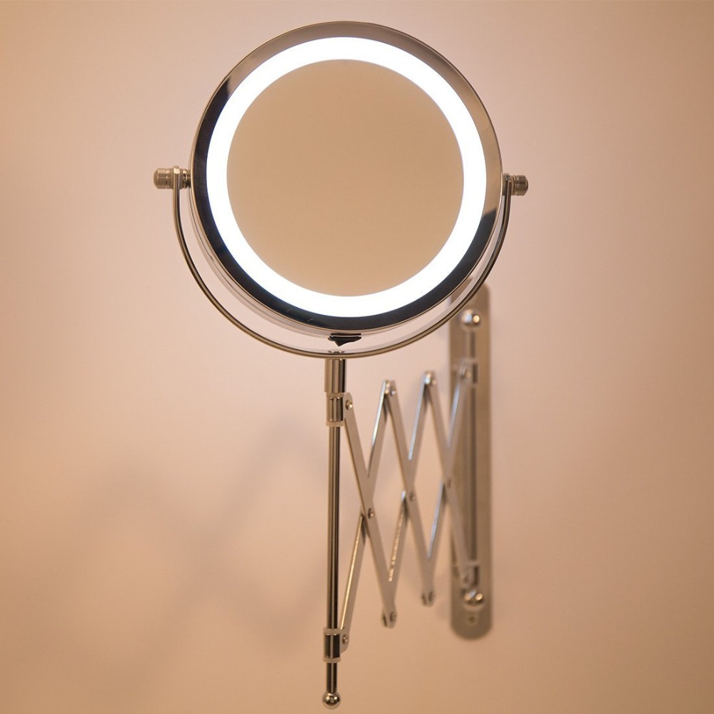 GLAMO Bath Mirror Led Cosmetic Mirror 1X/3X Magnification Wall Mounted Adjustable Makeup Mirror Dual Arm Extend 2-Face Bathroom Mirror