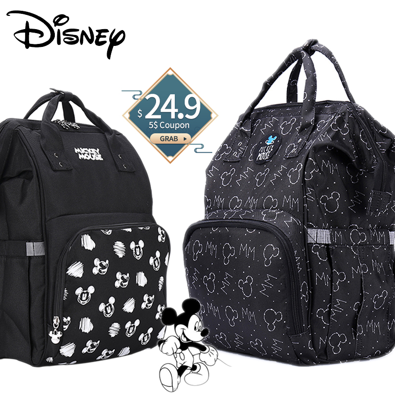 Disney Mickey USB Diaper Bag Organizer Baby Bag Backpack Nappy Bag Large Capacity Mommy Bag For Stroller Black New Design 2020