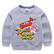 Super Wings Sweatshirts Boys Clothing Cartoon Baby Boys T-shirt For Kids Tops Girl Clothes 1-10 Years