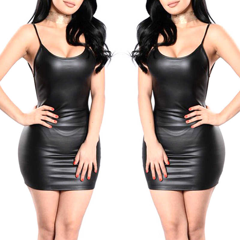 Black Sexy Faux Leather Jurk Backless Club Party Korte Jurk Wetlook Latex Bodycon Push Up Bh Mini Micro Jurk
