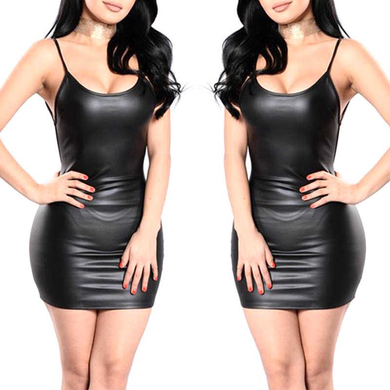 Siyah seksi suni deri elbise Backless kulübü parti kısa elbise islak bak lateks Bodycon Push Up sütyen Mini mikro elbise
