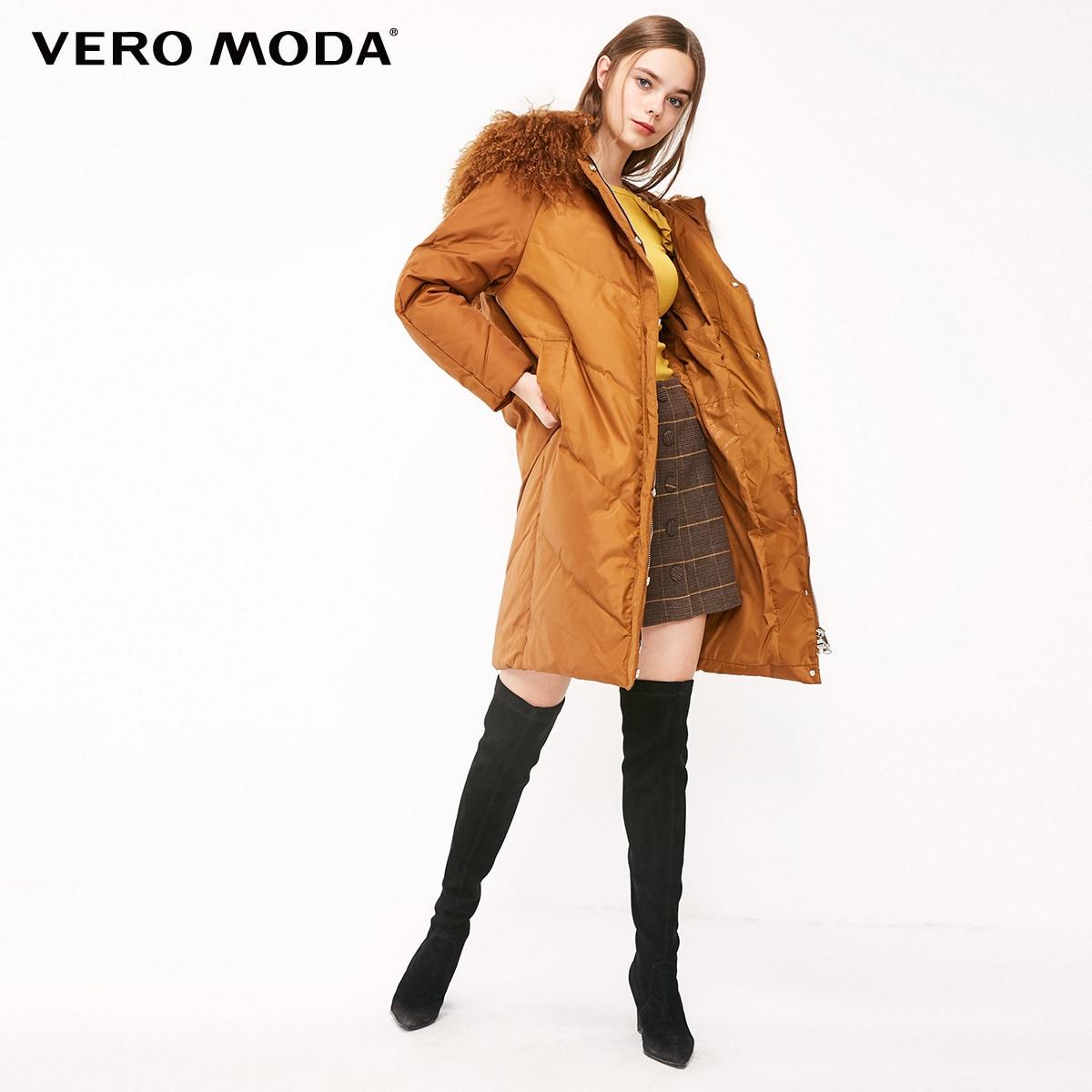 Vero Moda 2019 Women's 90% White Duck   Down   Sheep Fur Collar Hooded   Down   Jacket Parka   Coat   | 318412556