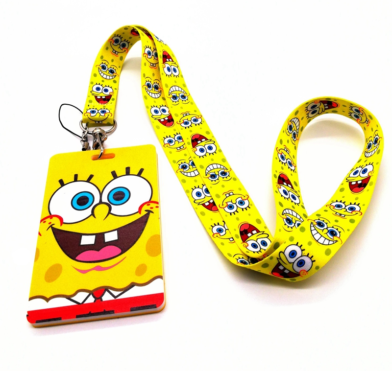 New Retail 1 Pcs SpongeBob Card Lanyard Neck Strap Lanyards Card Holders Bank Neck Strap Card Bus ID Holders Rope Key Chains