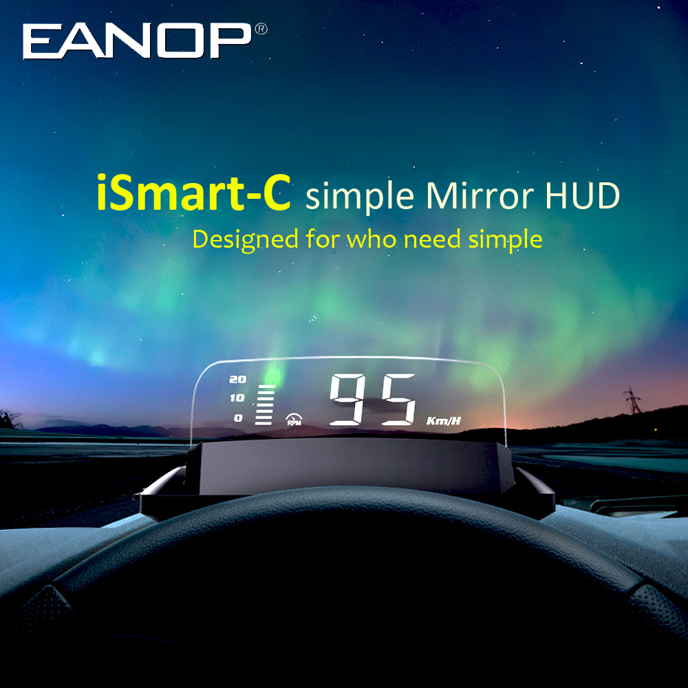 cheapest EANOP iSmart-C HUD Headsup Projector OBD2 Speed RPM Projector Voltage Oil Consumption for Unviersal Cars