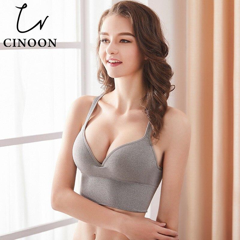 CINOON Sexy Women's Underwear Bras For Women Lingerie Solid Push Up Cotton Tops Wireless Plus Size Bra XXL Sports Vest Bralette