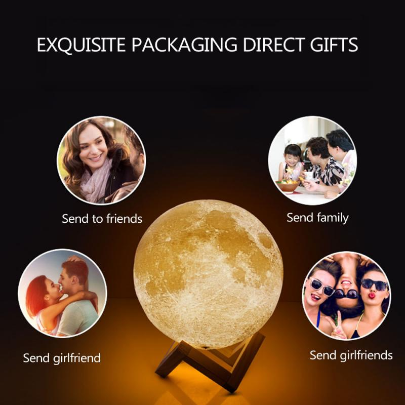 Rechargeable Moonlight 16 Color Night Light Touch Switch Remote Control 3D Printing Lamp Bedroom Bookcase  Light Creative Gift
