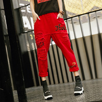 2019 Retro Trend Elastic Waist Full Length Denim Pants women Autumn Red Holes Harem trousers Female with printing Pants LT856S30