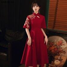Модное коктейльное платье элегантное Ципао с аппликацией в китайском