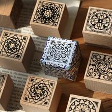 Деревянные штампы плитка шаблон резиновый штамп квадратный деревянный резиновый штамп для скрапбукинга и Diy крафт карты