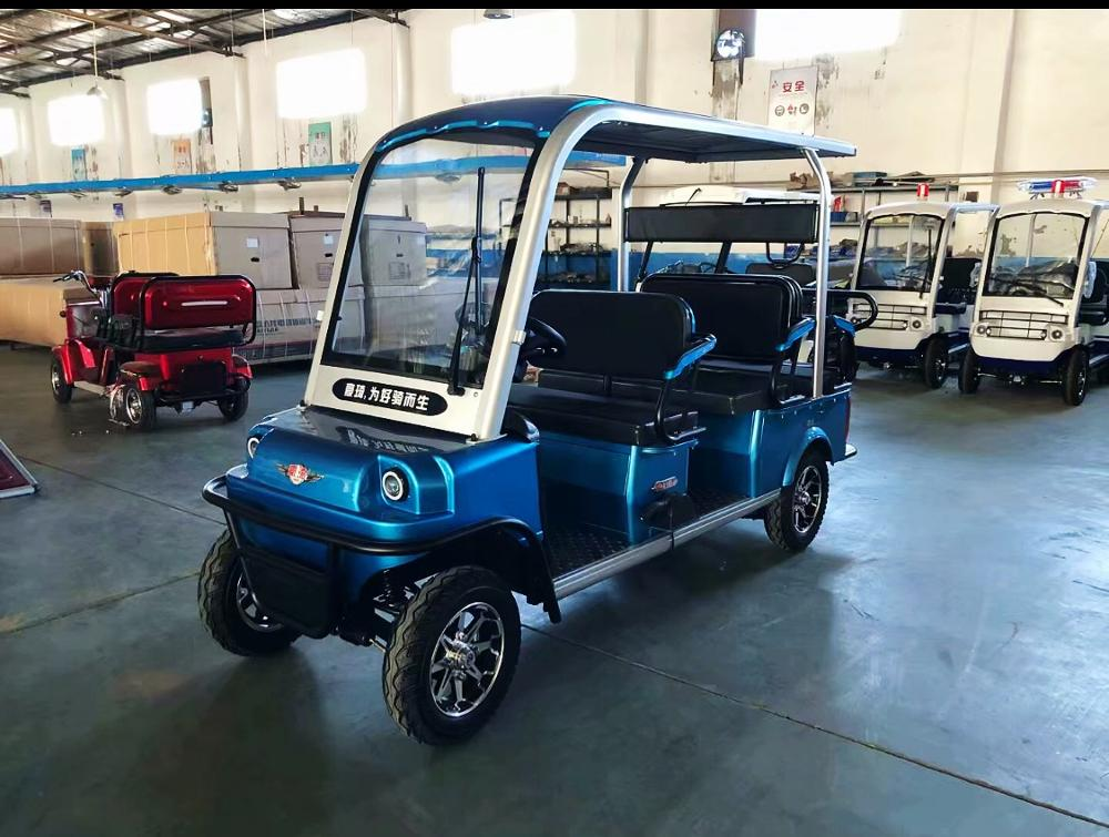 2020 New Design 4 Seater Adult Electric Golf Carts Motorized  Tandem Rickshaw Surrey Sightseeing Bicycle for Sale 5