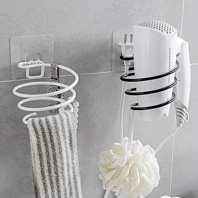 Adhesive Wall Mounted Metal Hair Dryer Holder Spiral Hairdryer Hanging Rack Blower Organizer Shelf For Bathroom Barber 10166
