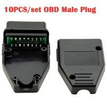 10 قطعة/الوحدة سيارة أداة تشخيص OBD ذكر التوصيل 16Pin OBD2 موصل OBD 2 16 دبوس OBD II محول OBDII J1962 موصل استبدال