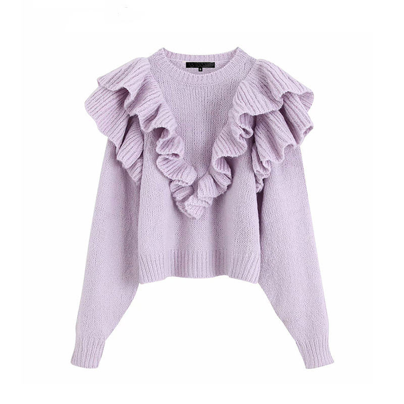 Fashion Women Sweater Sweet Ruffled Knitted Sweater Long Sleeve O Neck Jumper Elastic Pullovers Female Cute Stylish Chic Tops