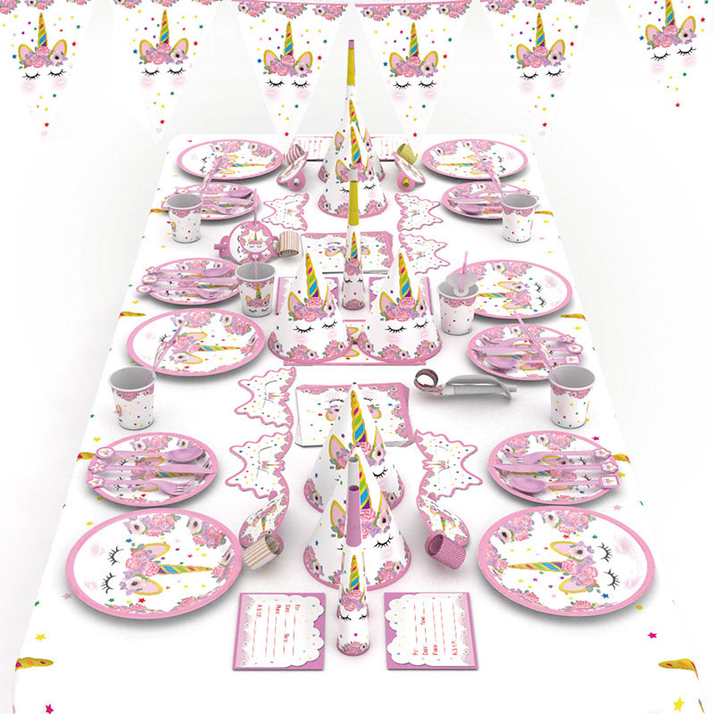 Украшения для дня рождения в виде единорога, Детская одноразовая посуда, чашки, тарелки, салфетки, воздушные шары, товары для вечеринки в вид...