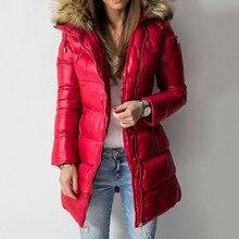 Winter Down Jacket Coat Women Parkas Warmness Cotton Padded Overcoat PU Fashion