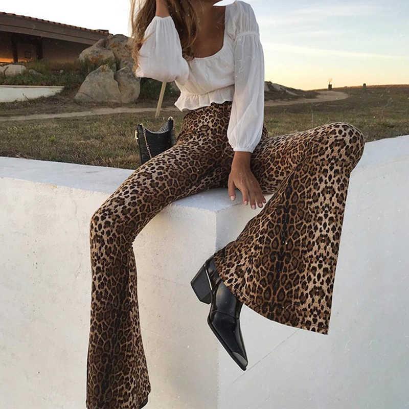 Leopard พิมพ์แฟชั่น Flare กางเกงผู้หญิงสูงเอว Slim สบายๆกางเกง 2019 ฤดูใบไม้ร่วงกางเกง