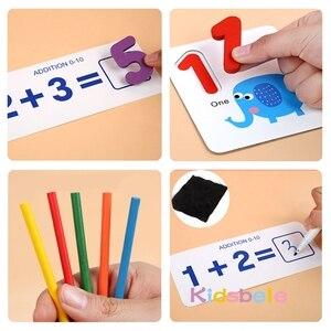 Image 5 - Juguetes matemáticos Montessori para niños, juguetes educativos para edades tempranas, calcomanía de madera para contar números, regalo de cumpleaños para niños