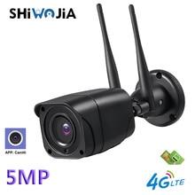 SHIWOJIA 5MP Mini IP Camera 4G SIM Card Wifi Security Camera 1080P HD Outdoor IP66 Waterproof Surveillance Onvif Camera Camhi