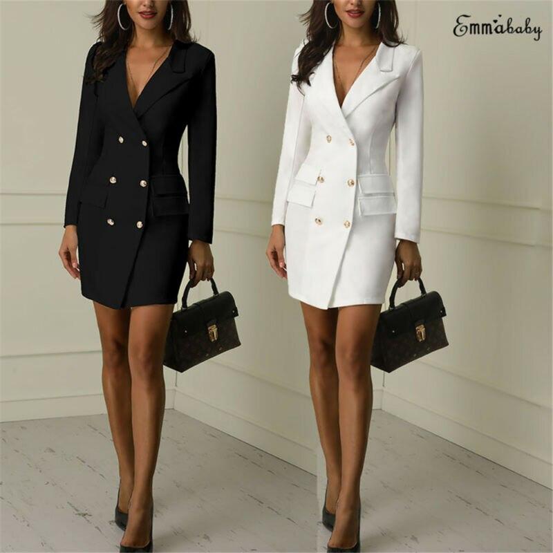 Fashion Women Dress Trench Slim Wool Long Coat Jacket Blazer Ladies Autumn Winter Sexy Workwear Suit