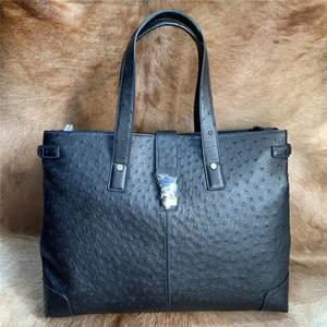 Travel Duffle Handbag Shoulder-Bag Top-Handle Business Large Real Male Men Ostrich Purse